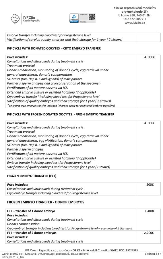 Pricelist of In Vitro Fertilization - IVF Czech Republic s r o